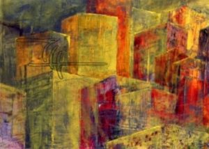 Grüne Stadt - Acryl, Glaspuder auf Malkarton - 80 x 60