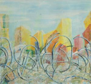 Morgen - Acryl, Glaspuder, Schläuche auf Malkarton - 30 x 30 (gerahmt)