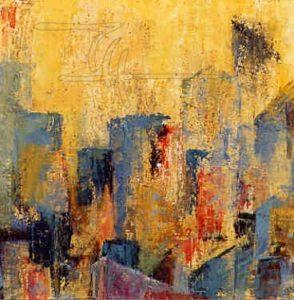 Stadt in gelb - Acryl, Glaspuder auf Malkarton - 50 x 50