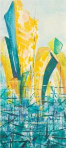 Utopia gelbgrün - Acryl auf Malkarton - 35 x 25 (gerahmt)