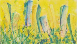 Utopia grün-orange - Acryl auf Malkarton - 24 x 40 (gerahmt)