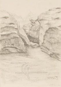 Cevennen, Felsbucht - Bleistiftzeichnung - 21 x 29