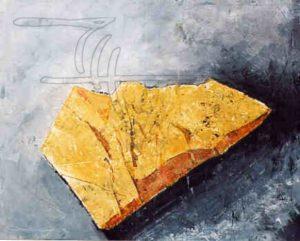 Gelber Stein - Acryl, Malkarton auf Leinwand - 100 x 80