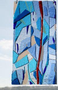 Impression in Glas - Relief-Fusingarbeit aus Artista-Farbglas- mehrschichtig - 22 x 43 cm