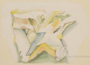 Stein, Brüche, Spalten - Mischtechnik auf Malkarton - 50 x 36